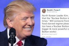 Kompleks małego czerwonego guzika nie wybiera. Dlatego Donald Trump MUSIAŁ zareagować na pogłoski, że Kim Dzong Un na większego i trzyma go ciągle na biurku.