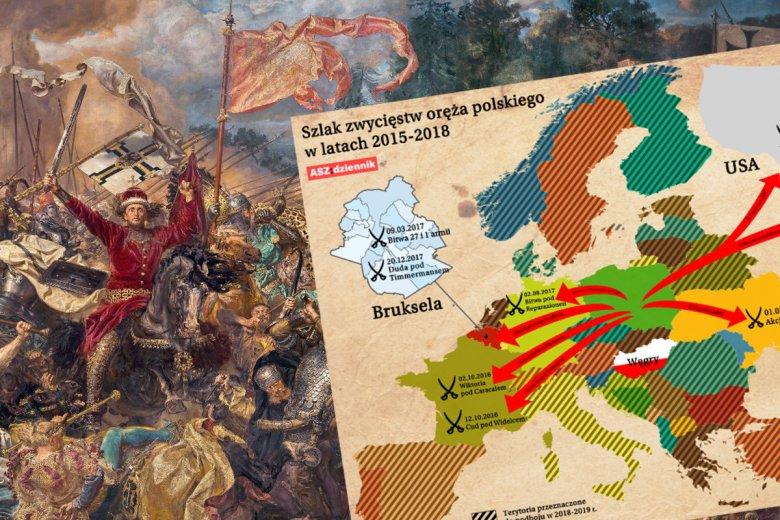 Mapa zwycięstw oręża polskiego w latach 2015-2018.