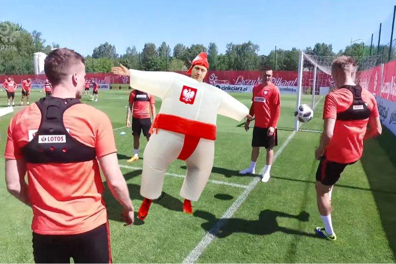 Robert Lewandowski na treningu.