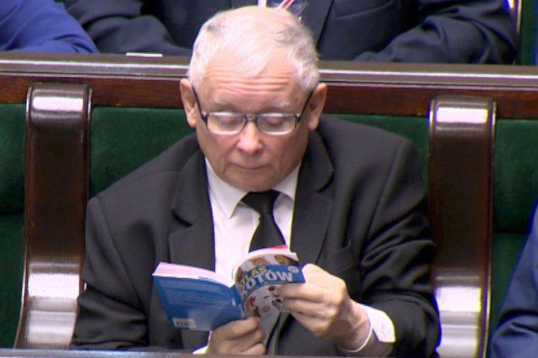 Jarosław Kaczyński przegląda Atlas Kotów