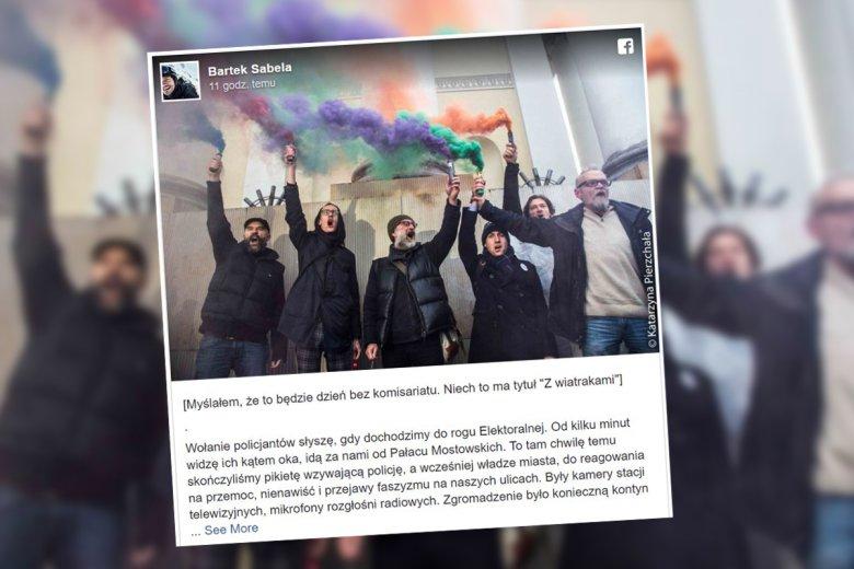 Post Bartka Sabeli na Facebooku o wydarzeniach po Marszu Niepodległości