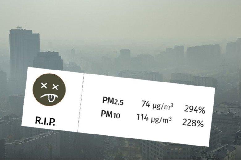 Martwa buźka z aplikacji mierzącej jakość powietrza na tle Warszawy w smogu.