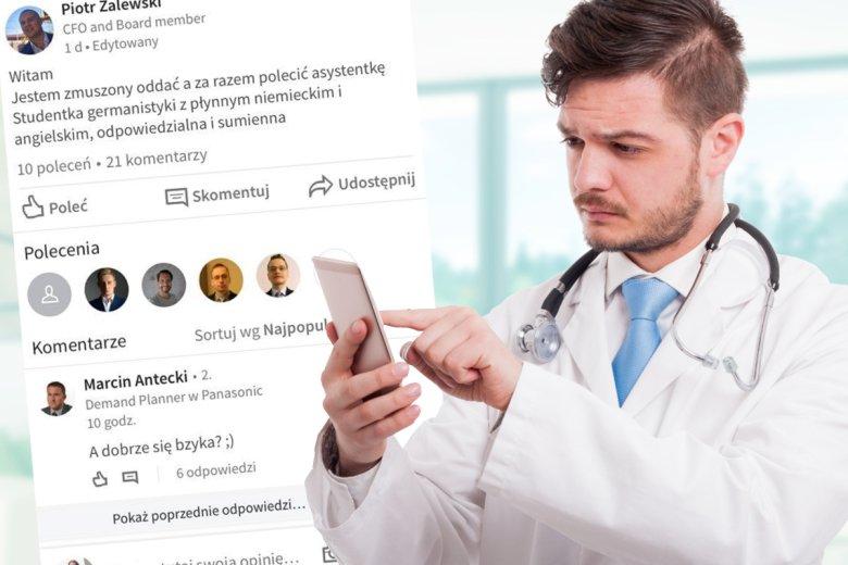 Nowo poznany znajomy ze szpitala komentuje na LinkedIn.