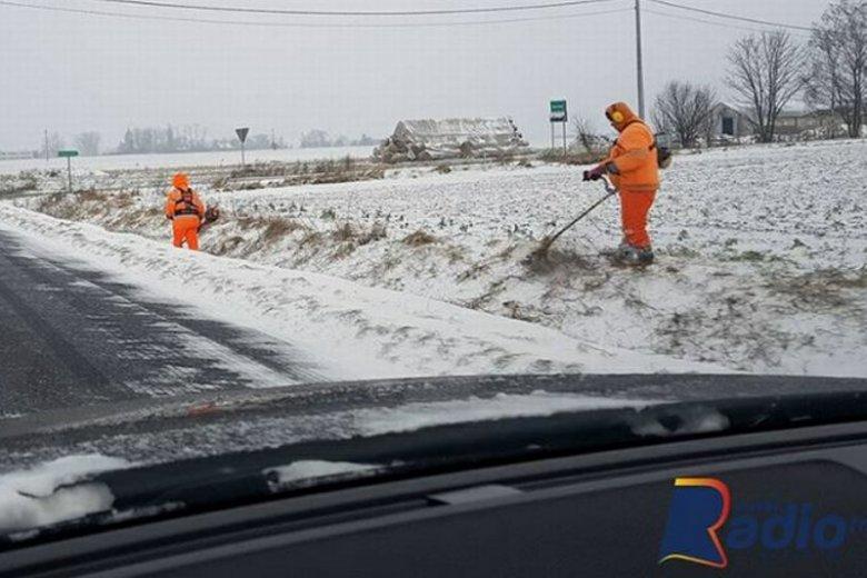 Drogowcy w Wielkopolsce koszą trawę zimą.