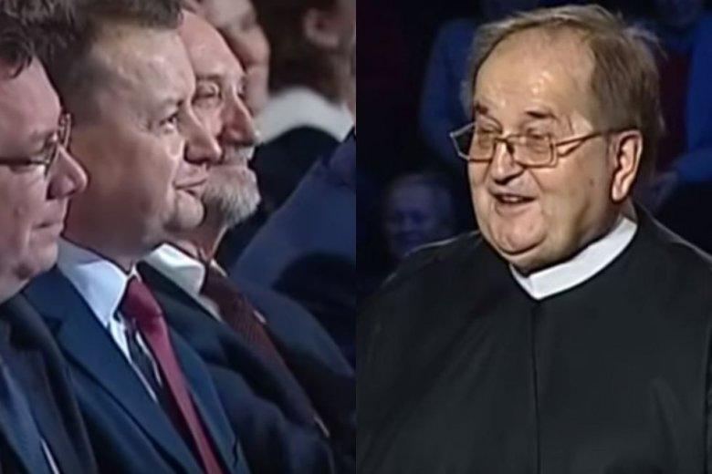 Tak kocha prawica. Mariusz Błaszczak i Antoni Macierewicz pokazali na urodzinach Radia Maryja, jak padać na kolana przed ojcem dyrektorem.
